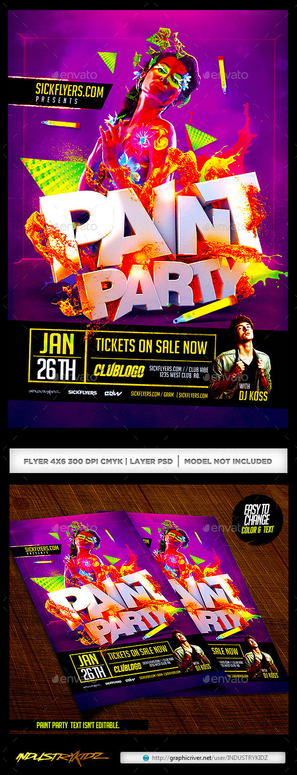 Paint Party Flyer / Glow In the Dark - Clubs & Parties Events