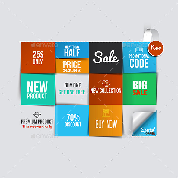 Color Sale Cards - Retail Commercial / Shopping