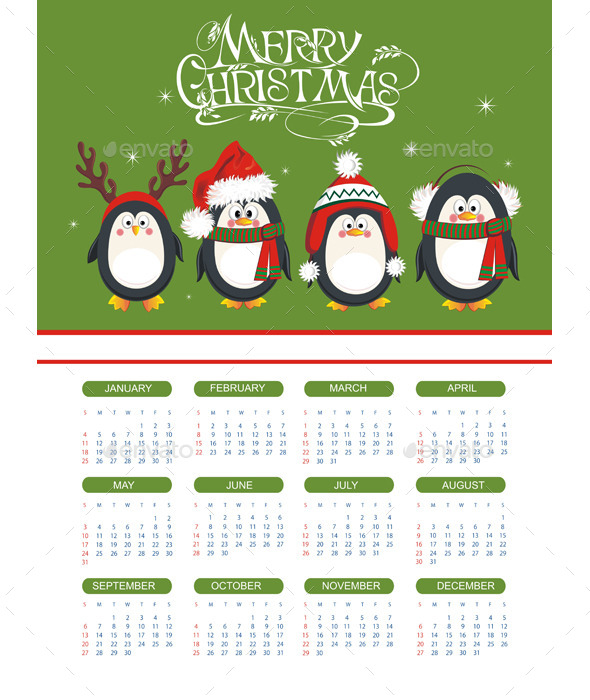 Merry Christmas Illustration with Calendar - Christmas Seasons/Holidays