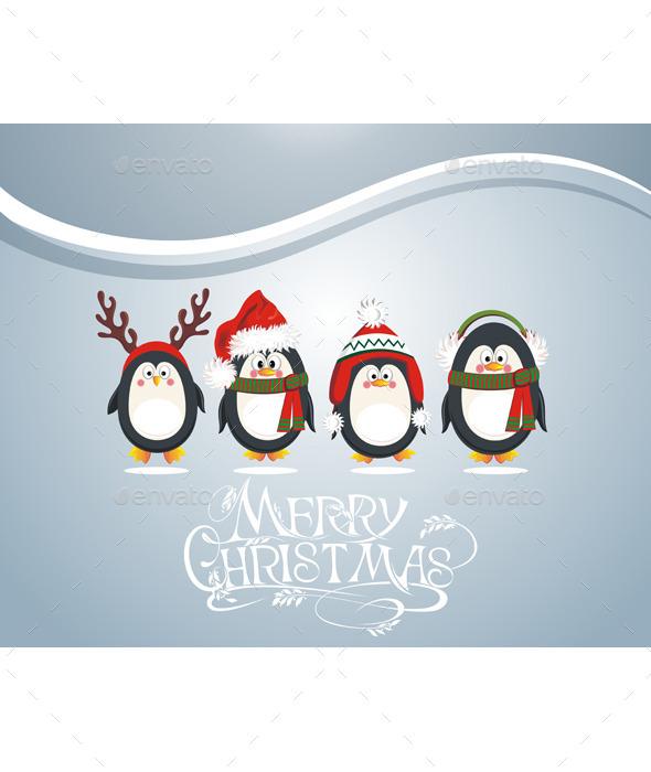 Christmas Card with Penguins - Christmas Seasons/Holidays