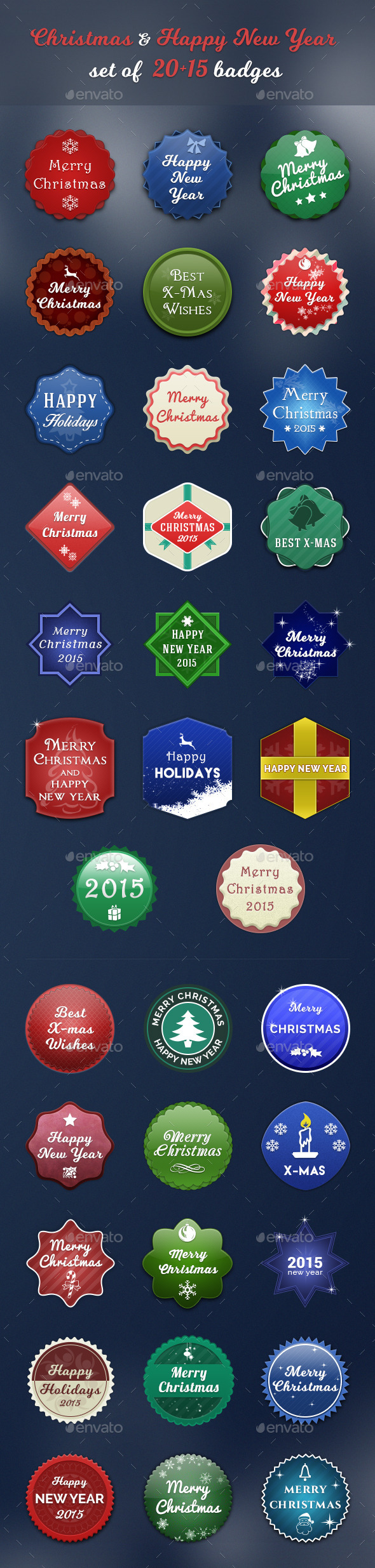 Christmas & Happy New Year set of 20+15 badges - Badges & Stickers Web Elements