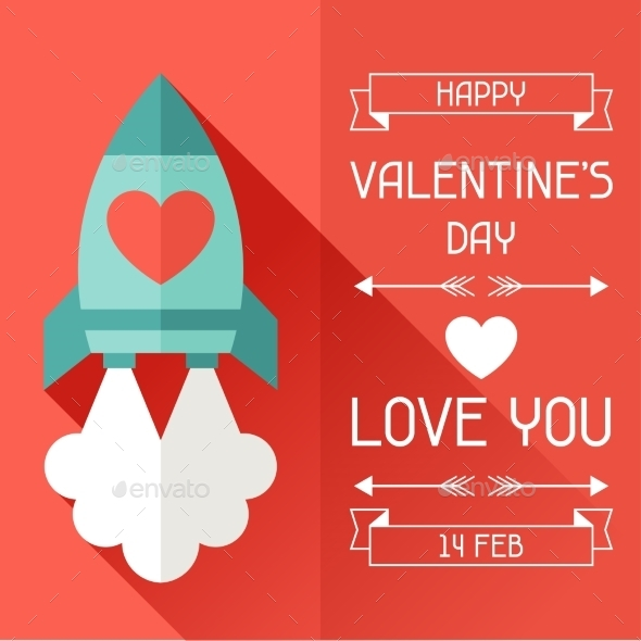 Happy Valentine's Illustration in Flat Style. - Valentines Seasons/Holidays