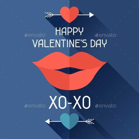 Happy Valentine's Illustration in Flat Style. - Valentines Seasons/Holidays