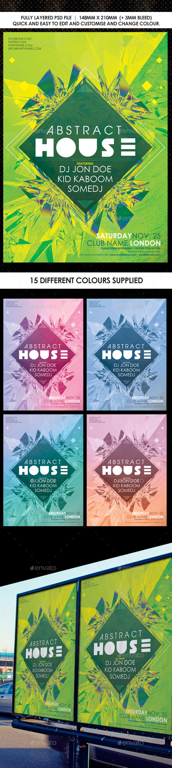 Deep House Abstract Flyer Vol 2 - Events Flyers