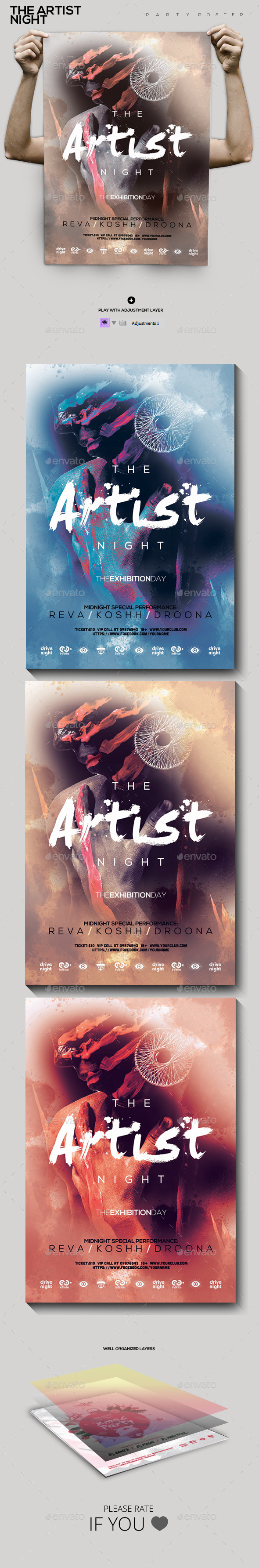 The Artist Night Party Flyer/Poster - Clubs & Parties Events
