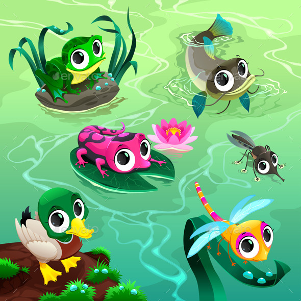 Animals in the Pond - Animals Characters