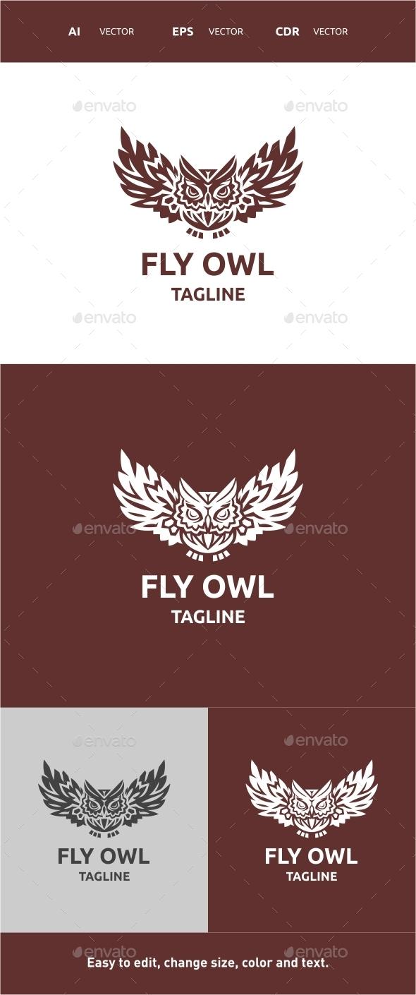 Fly Owl - Animals Logo Templates