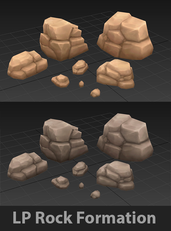 Low Poly Rock Formation - 3DOcean Item for Sale