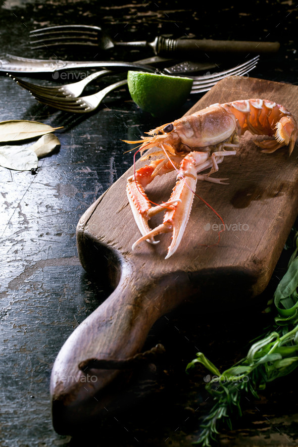 Cooking langoustine - Stock Photo - Images