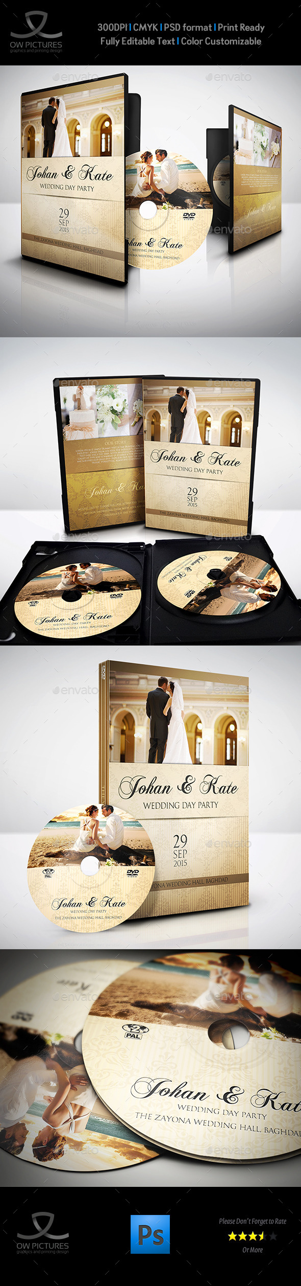 Wedding DVD Cover and DVD Label Template Vol.4 - CD & DVD Artwork Print Templates