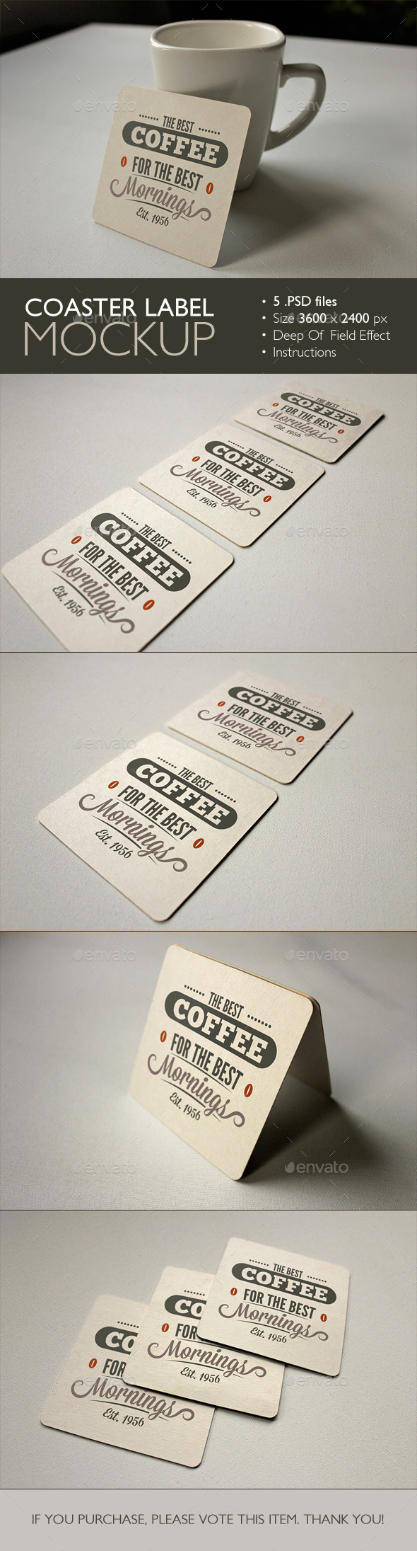Coaster label mockup by grapulo graphicriver for Coaster size template
