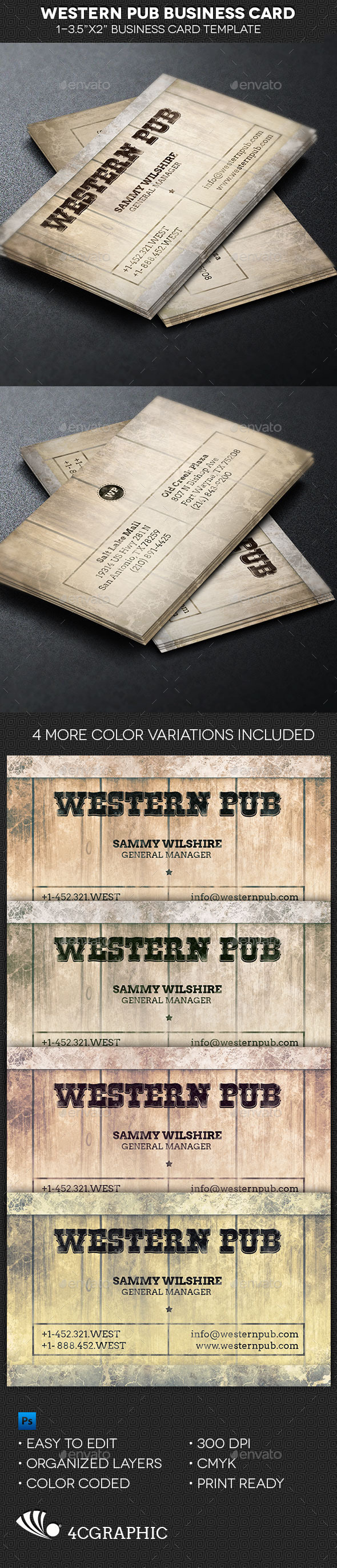 Western Pub Business Card Template - Industry Specific Business Cards