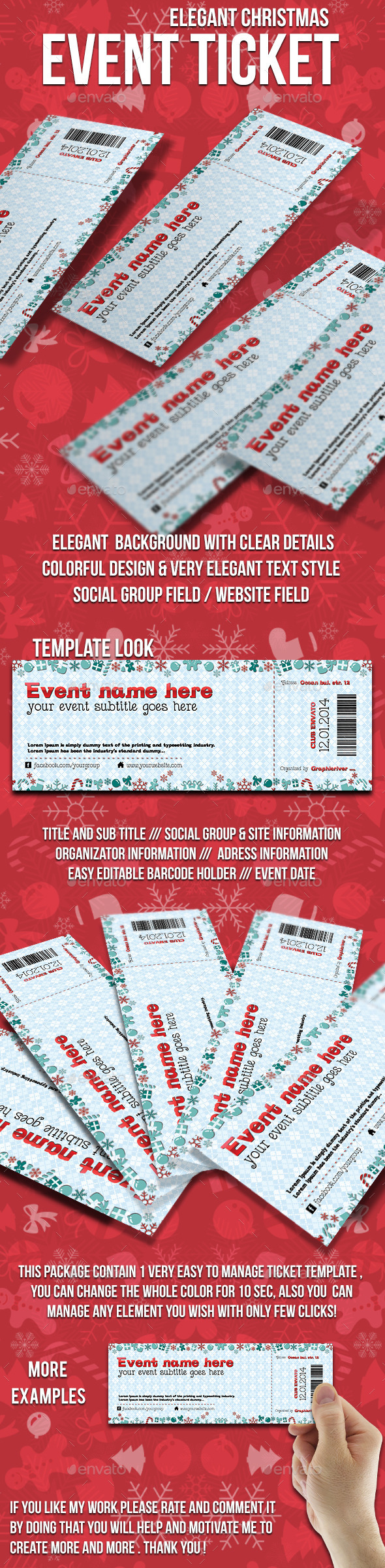 Christmas event ticket - Cards & Invites Print Templates