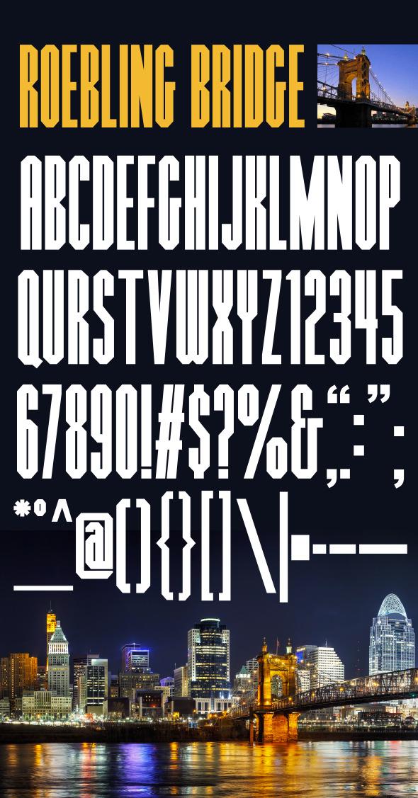 Roebling Bridge Font - Condensed Sans-Serif