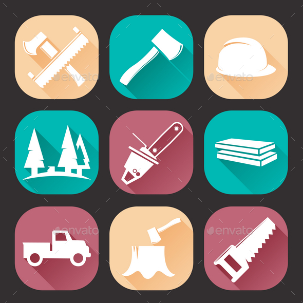Lumberjack Woodcutter Icons Set - Industries Business