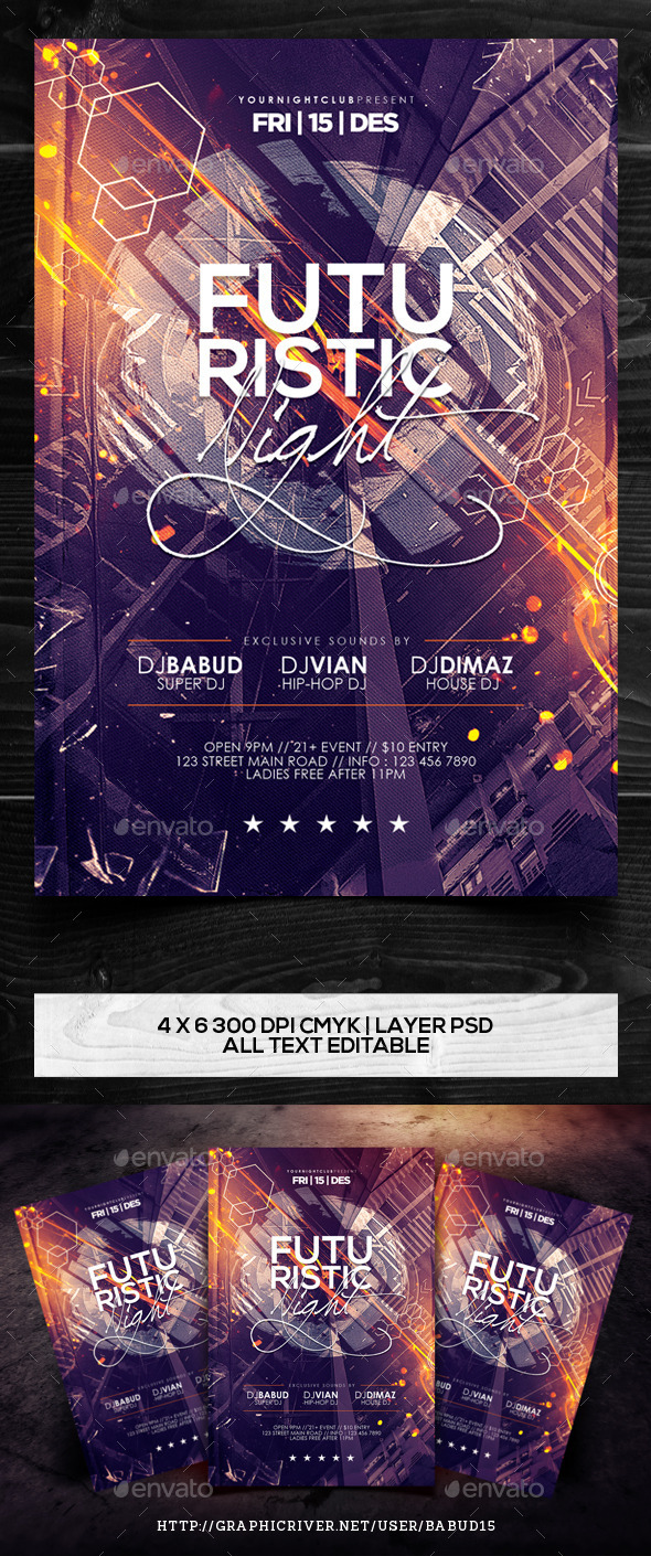 Futuristic Night Flyer Template - Events Flyers