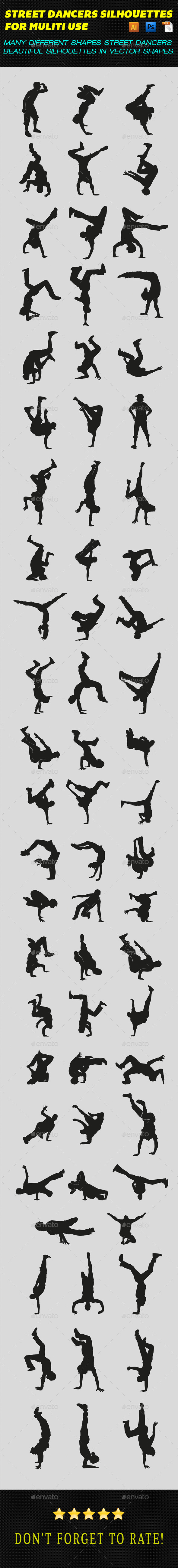 Street Dancers Silhouettes - People Characters