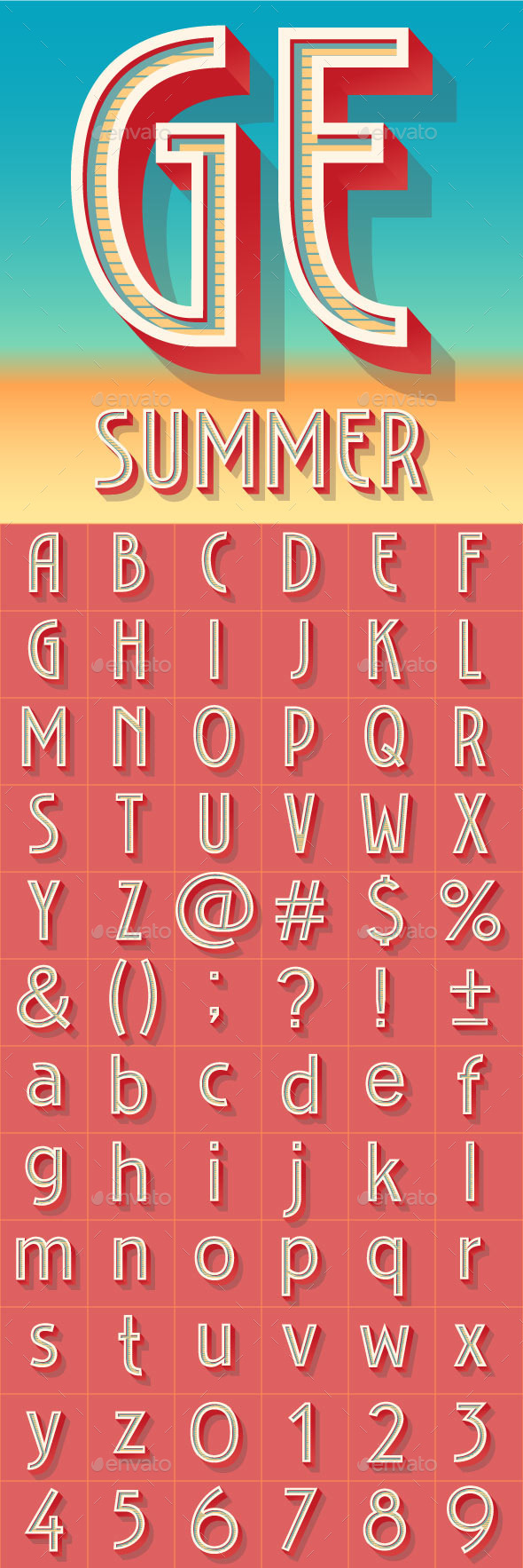 Summer Art Deco Alphabet - Decorative Symbols Decorative