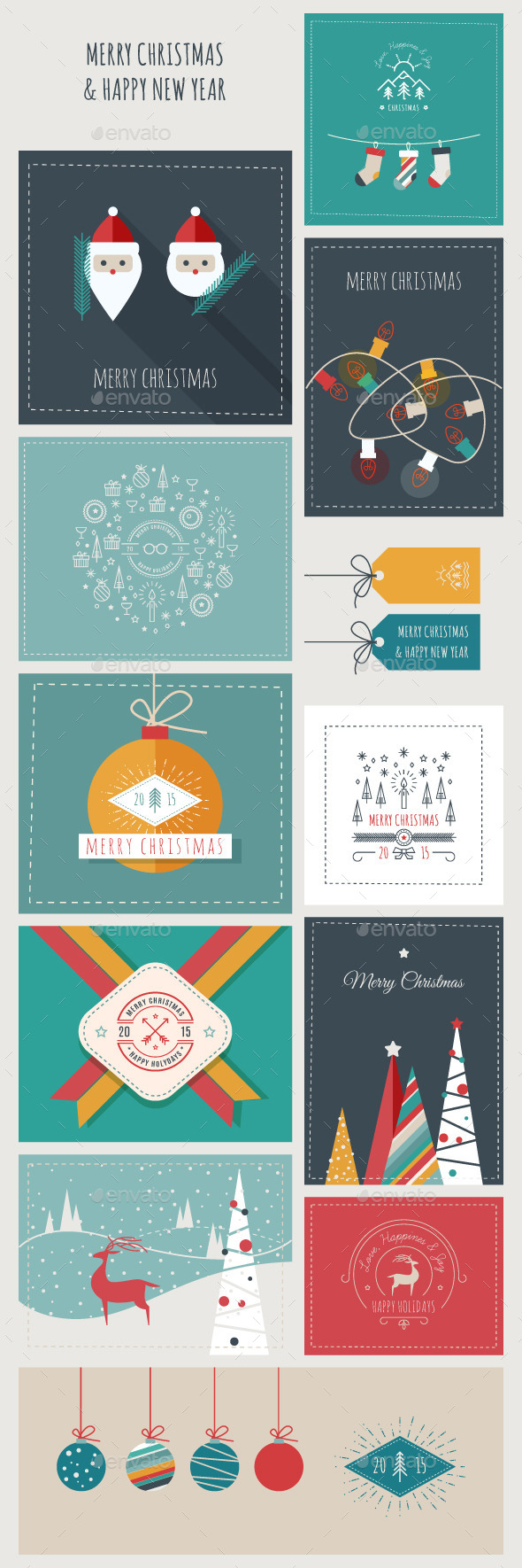 New Year and Christmas Greeting Cards and Banners - Christmas Seasons/Holidays