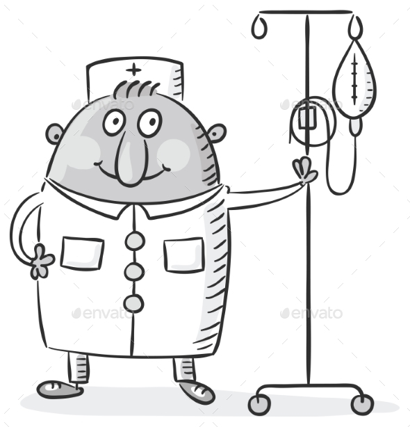 Male Nurse with a Drop Counter - Health/Medicine Conceptual