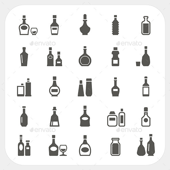 Bottle Icons Set - Food Objects