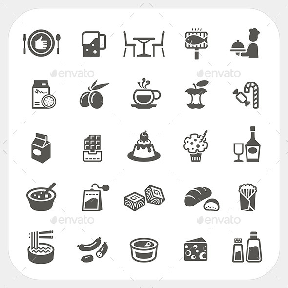 Food and Dessert Icons Set - Food Objects