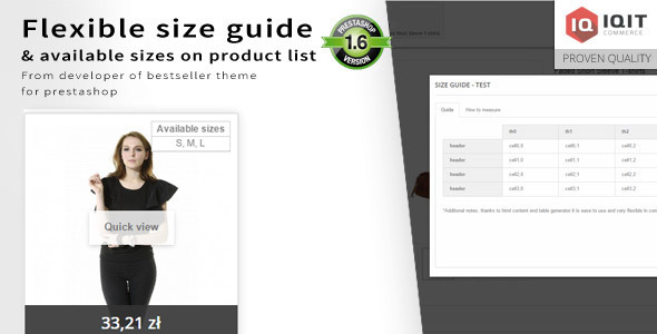 Download cloned Flexible size guide(chart) & sizes on product list