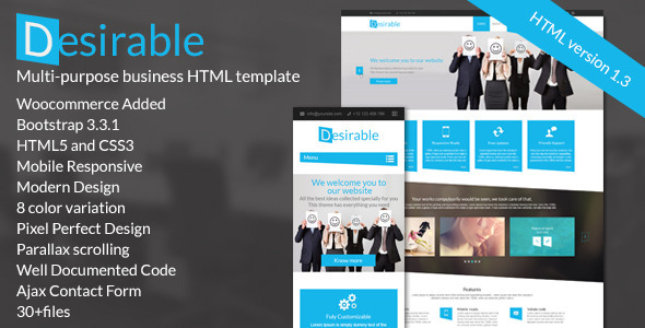 Desirable –  The Multi-Purpose HTML5 Business Template