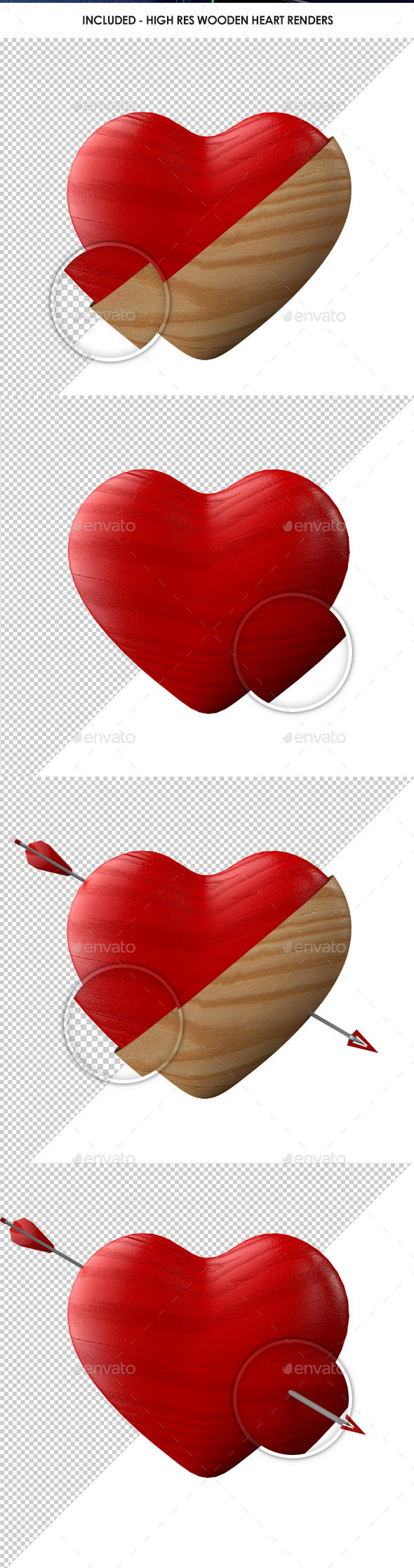 Retro Shabby Chic Wooden Heart Renders - Miscellaneous 3D Renders
