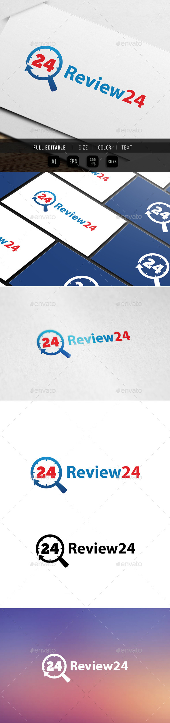 review - search - 24 hour logo - Numbers Logo Templates