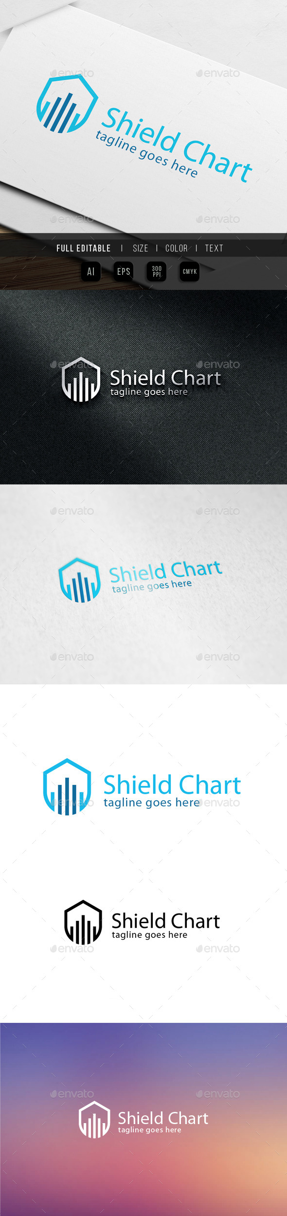 Shield Chart Logo - Objects Logo Templates