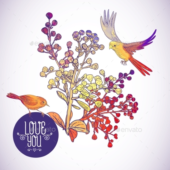 Floral Greeting Card with Birds and Branches - Patterns Decorative