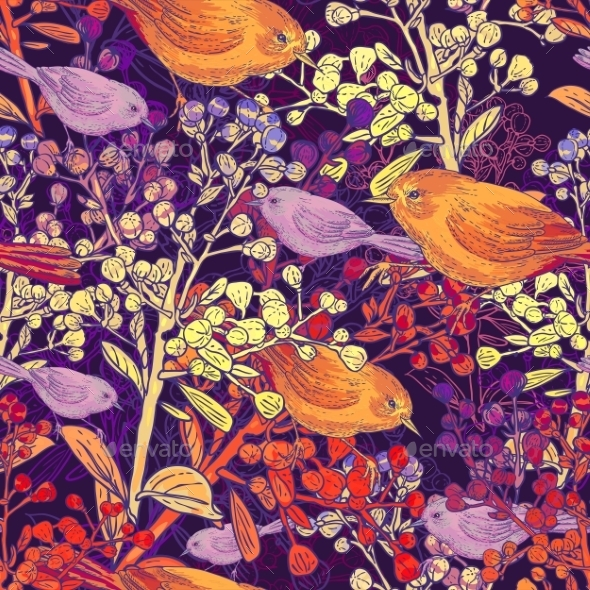 Seamless Background with Birds and Branches - Patterns Decorative