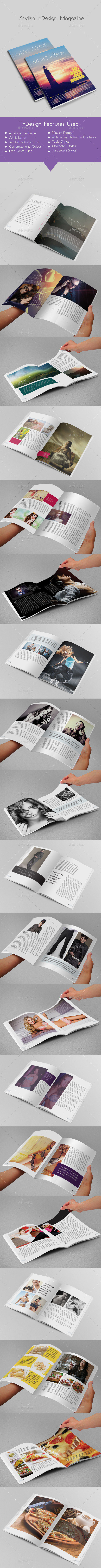 Stylish InDesign Magazine 40 Pages - Magazines Print Templates