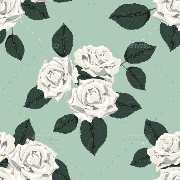 Classic Vintage Seamless Pattern with White Roses - Flowers & Plants Nature