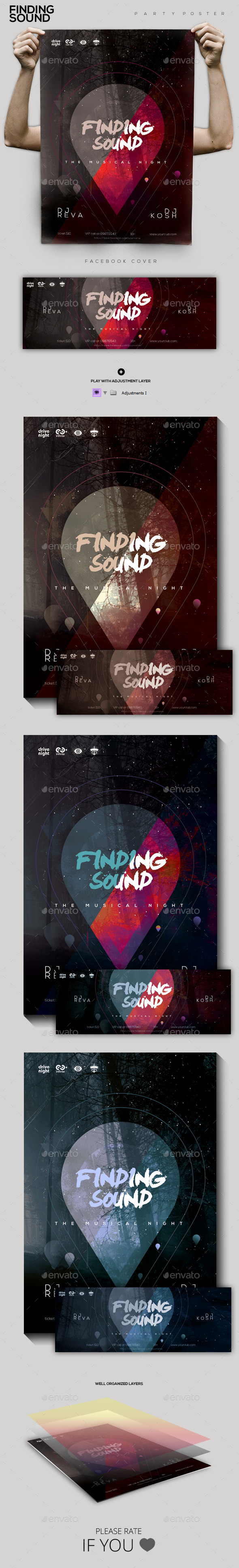 Finding Sound Party Flyer/Poster - Clubs & Parties Events