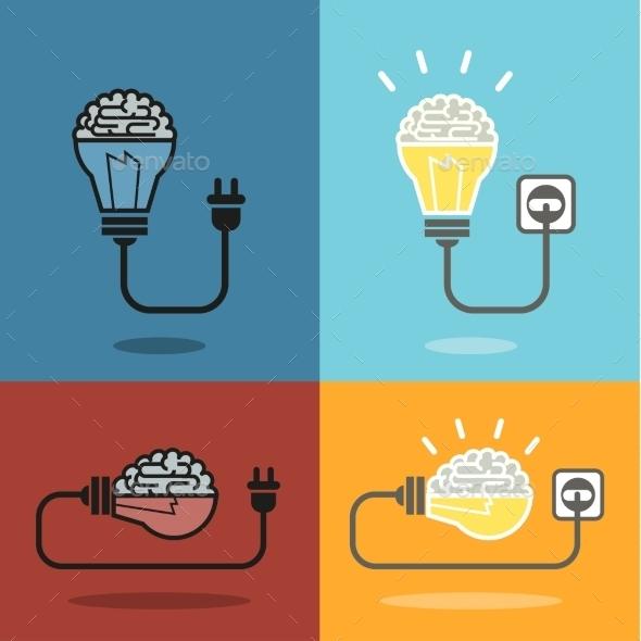 Brain and Bulb Light - Business Conceptual