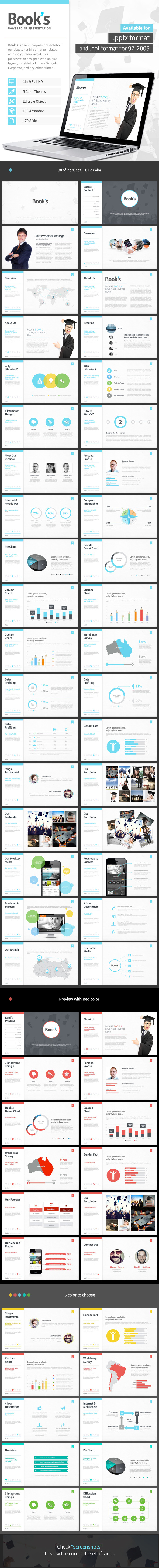 Book's - Powerpoint Template  - Creative PowerPoint Templates