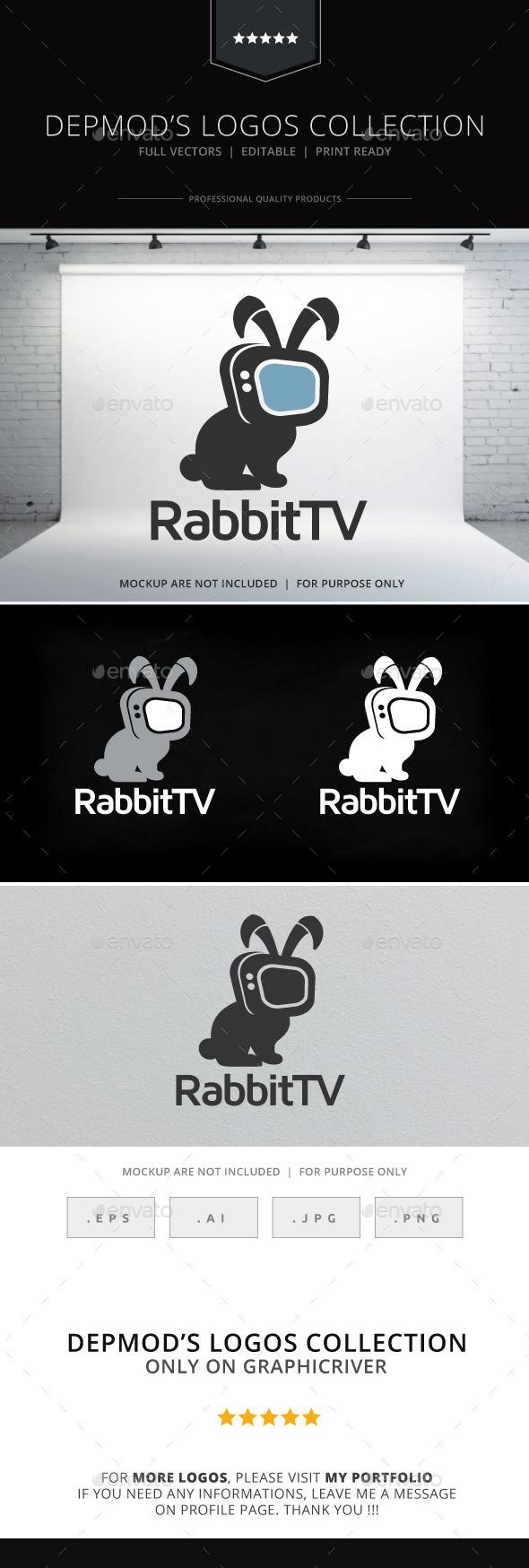 Rabbit TV Logo - Animals Logo Templates