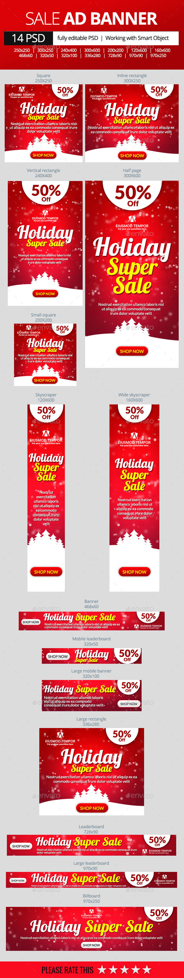 Holiday Super Sale Banners - Banners & Ads Web Elements