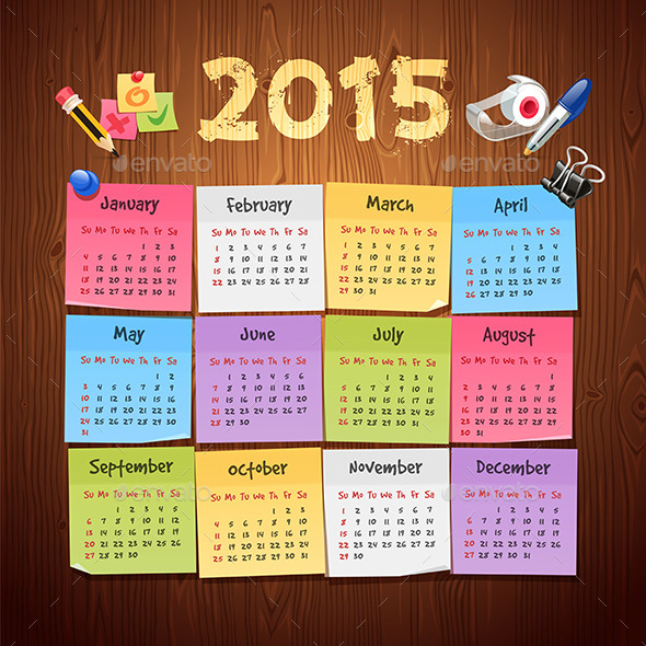 Office Stickers Calendar 2015  - Miscellaneous Conceptual
