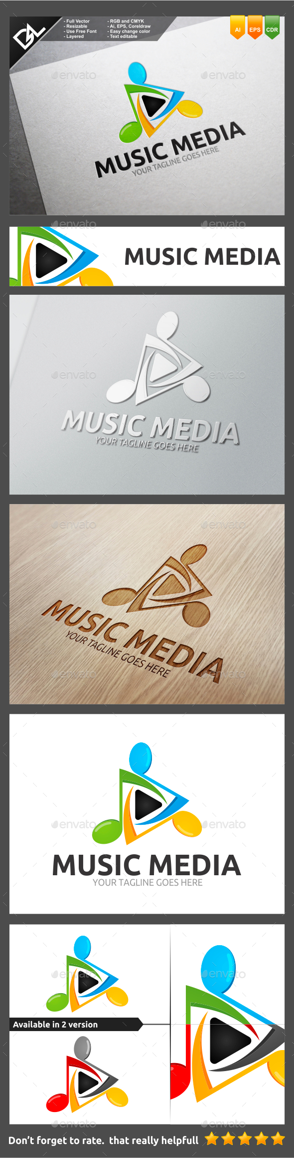 Music Media - Objects Logo Templates