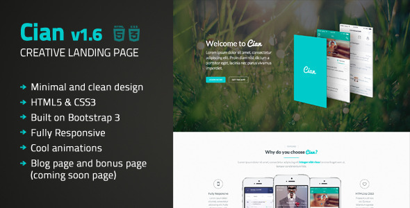 Cian – Landing Page Template + Coming Soon