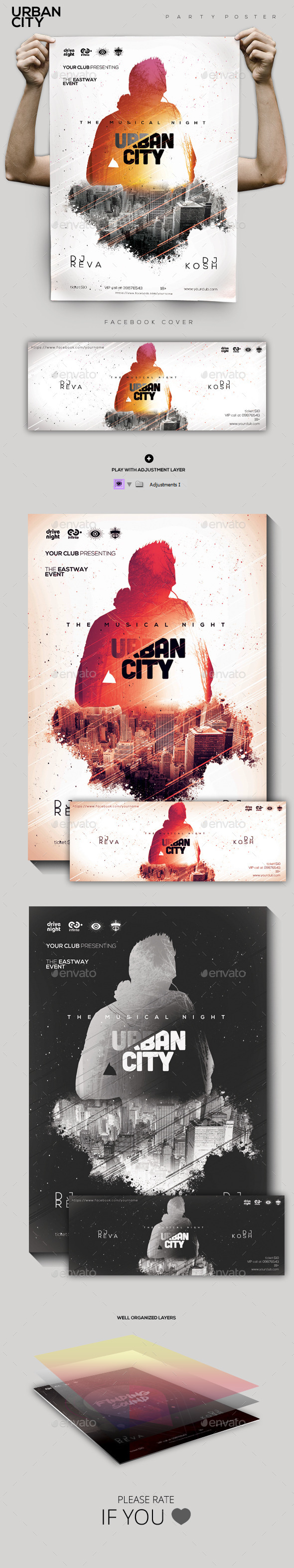 Urban City Party Flyer/Poster - Clubs & Parties Events