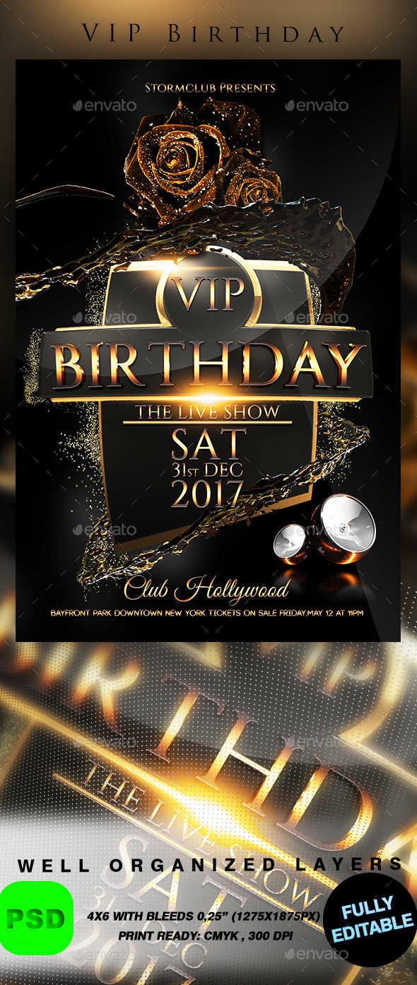 VIP Birthday - Events Flyers