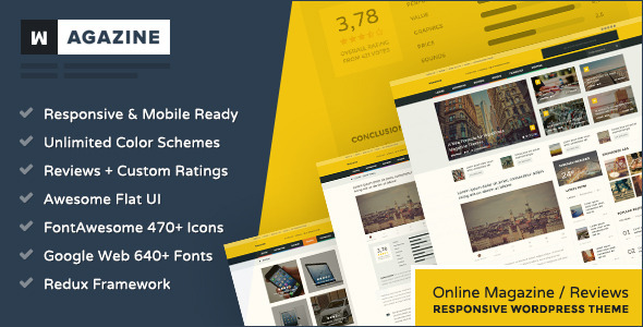 Wagazine – Magazine & Reviews Responsive WordPress Theme