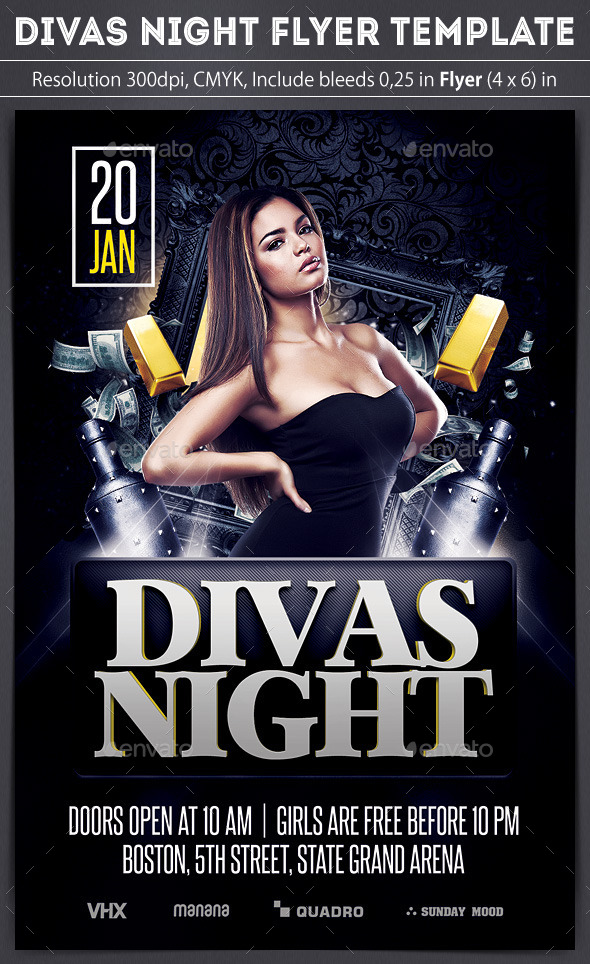 Divas Night Flyer - Clubs & Parties Events