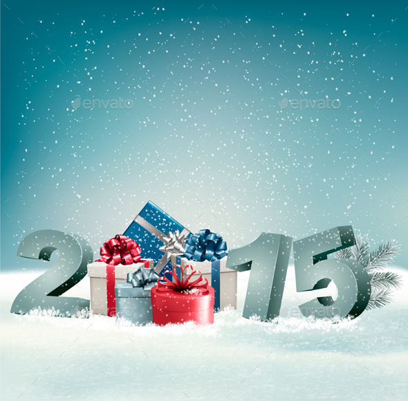Holiday Background with Presents and 2015 - New Year Seasons/Holidays