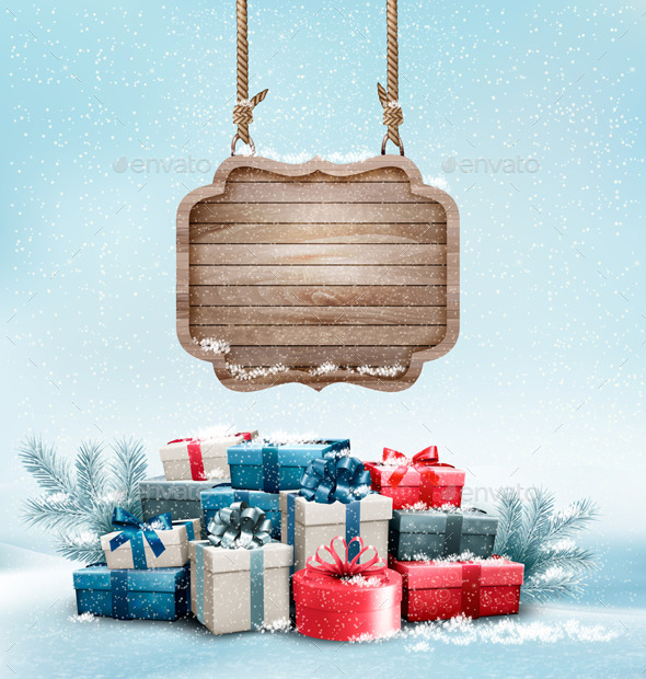 Christmas Background with a Retro Wooden Sign - Christmas Seasons/Holidays