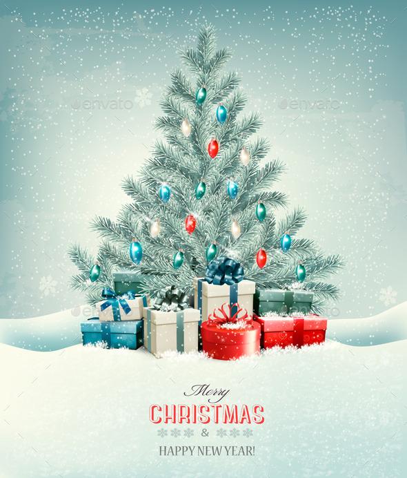 Christmas Tree with Presents Background - Christmas Seasons/Holidays